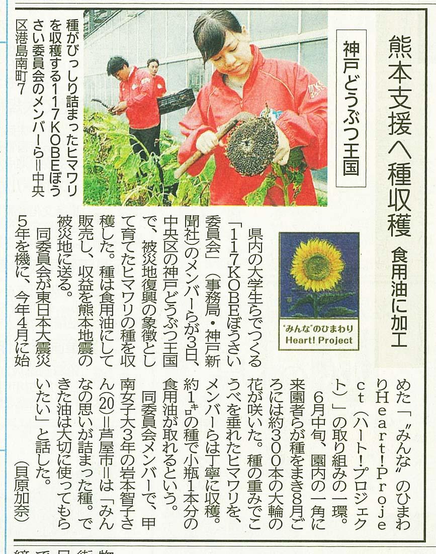 """2016年10月4日 神戸新聞に「""""みんな""""のひまわりHeart!Project(ハート!プロジェクト)」で当園が紹介されました"""